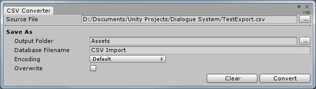 Dialogue System for Unity: CSV Converter