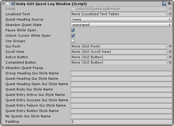 Dialogue System for Unity: Quest Log Window