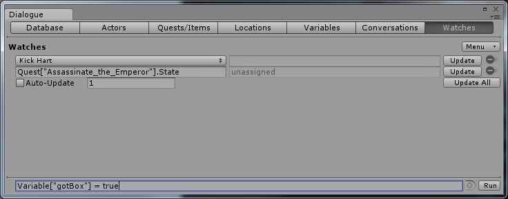 Dialogue System for Unity: Dialogue Editor Watches Tab